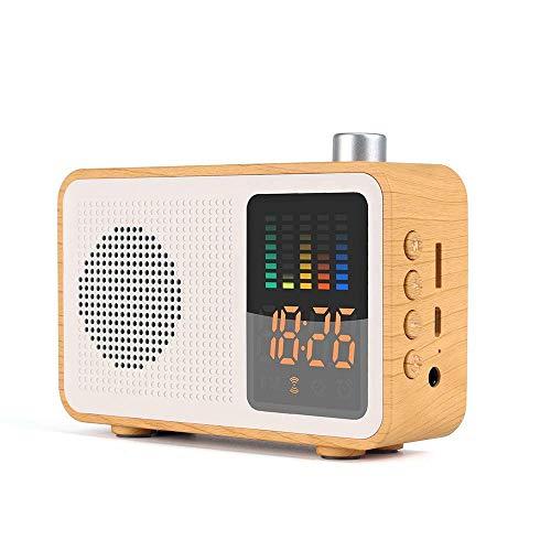LIUJIE Retro Bluetooth Wireless Lautsprecher, DAB/DAB + Digital FM tragbares Radio/LED-Anzeige Wecker/Echtholz-Effekt-Finish/Akku/Premium-Stereo-Sound,Beige