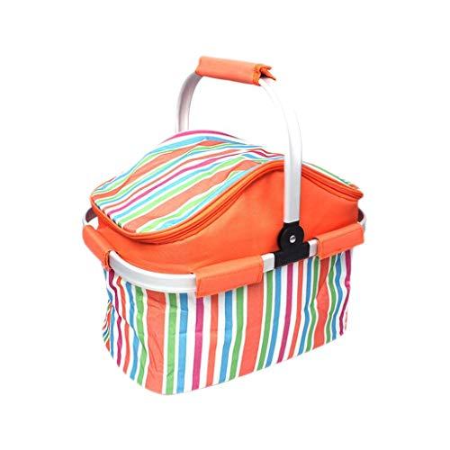 Fourre-tout pliable isolé de sac de panier de pique-nique pour les fêtes extérieures de vacances de BBQ de BBQ, poignée en aluminium de panier à provisions de stockage (Color : Orange)