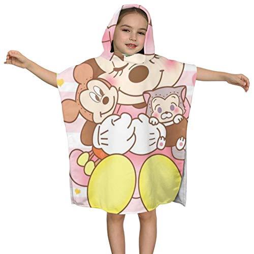 Toalla de baño con capucha para niños, toalla de playa suave, poncho de dibujos animados lindo patrón rosa Mi-ck-ey Mouse Animación Piscina con capucha Poncho toalla absorbente toalla 2-7 años de edad