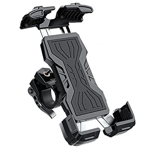 スマホホルダー 自転車 2021年最新版 静音設計 バイク用スマホホルダー ロードバイク 4.7〜6.8インチに対応 片手操作 厚め保護パッド 防音防振 (黒)