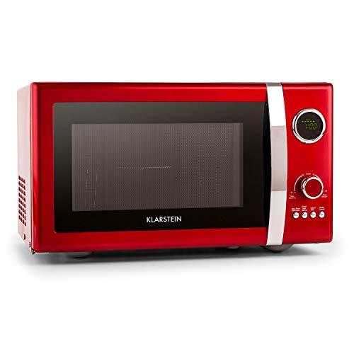Klarstein Fine Dinesty - Horno microondas con grill, Microondas 2 en 1, Microondas 800W, Grill 1000W, Capacidad 23L, 12 programas, 3 niveles de descongelación, Display digital, Rojo