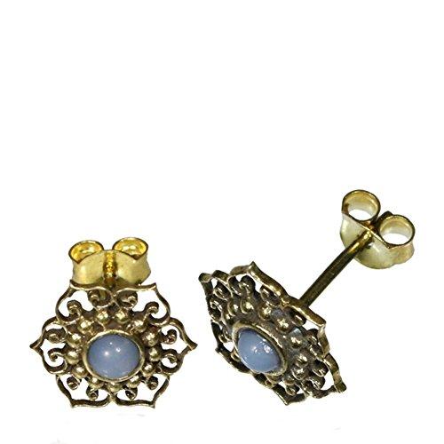 Messing oorstekers antiek gouden opaal wit inlay bloem punten cirkel slierten