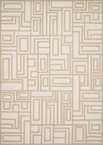 Now House by Jonathan Adler Blocks Collection Area Rug, 2'3″ x 3'9″, Ivory and Beige