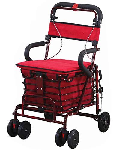 Einkaufstrolley, Rollator Aluminium Set, Leichtes Gestell Mit Sitzmöglichkeit,Höhenverstellbarer Schiebegriff,Leichtes Zusammenklappen,Mit Sofortbremse und Sicherheitsbremse,B