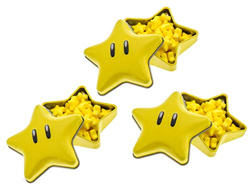 Nintendo Super Star Candies - Super Mario Bros. Star Shaped Tins - Includes 'How To Build a Candy Buffet' Guide (3 Pack)