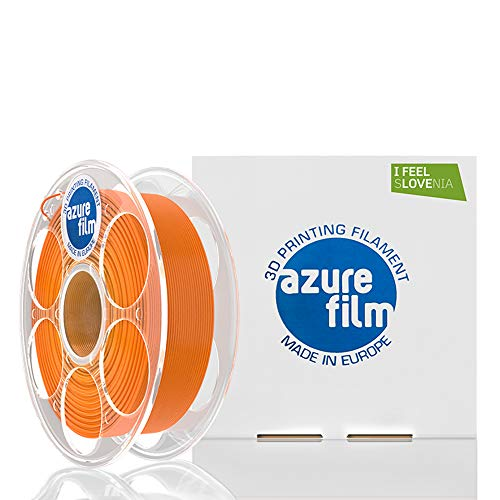 AZUREFILM 3D Filamento PLA per stampa 3D professionale 1,75 mm - Accessori di stampa 3D indispensabili - Precisione dimensionale elevata +/- 0,02 mm, Bobina 1 kg, Arancione - Senza bolle