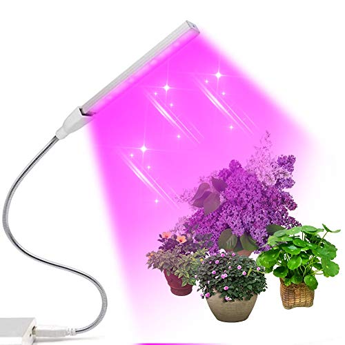 Lámpara de Planta, LED Plant Grow Strip Light, USB Lámpara LED Cultivo de Espectro Completo, Luz para Plantas 360°Ajuste para Jardinería Bonsai(21cm)