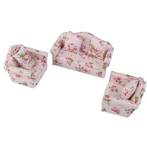 Yoyakie 3pcs De Madera Floral Cojines del Sofá Kit para La Casa De Muñecas En Miniatura 1/12 Muebles Decoración Hijo Los Niños Los Juegos De Simulación Juguetes