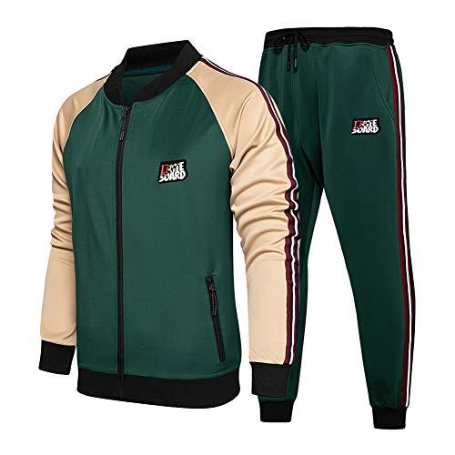 Men's 2 Piece Tracksuit Casual Zip Jacket + Sweatpants Suit Sets Green