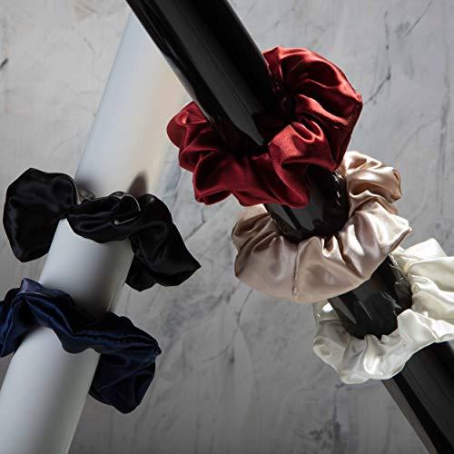 Großes, edles Haargummi aus 100% Seide - 22 Momme   Scrunchie   STANDARD 100 by OEKO-TEX®   Verschiedene Farben (Schwarz)