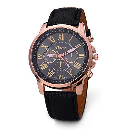 Reloj de Pulsera de Cuarzo de Cuero PU de Estilo clásico para Mujer Reloj de Pulsera de número Romano de Moda de TheBigThumb, Azul