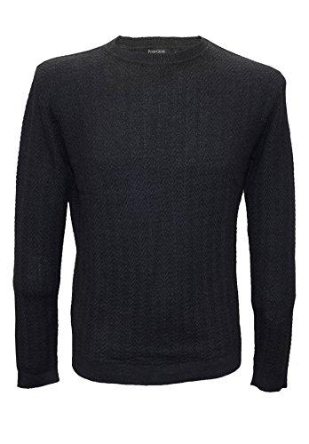 Posh Gear Herren Rundkragen Pullover Maglia aus Alpakawolle, schwarz, Größe L