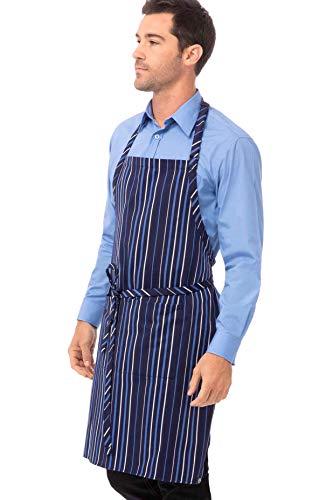 Chef Works Unisex Striped Bib Apron, Navy/Frb/White