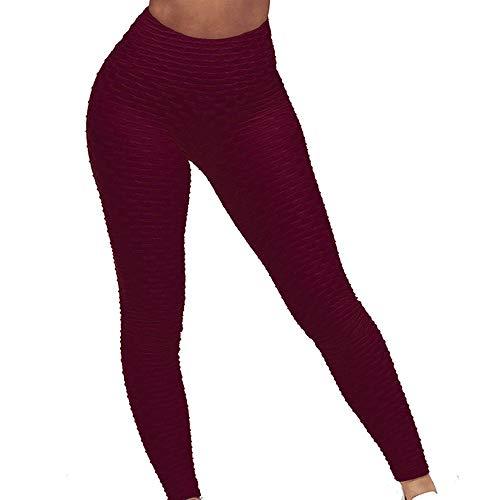 Eseres Leggings mit hoher Taille, für Damen, 12 Farben, für den Po, zum Abnehmen, strukturiert, dehnbar, sexy Yogahose - Rot - Klein