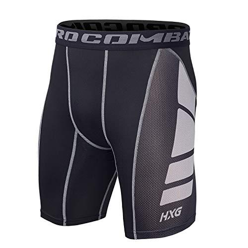 Hivexagon Pantalones Cortos de Compresión de Media Pierna para Deportes, Correr y Entrenamiento de Gimnasio SM008GYXL