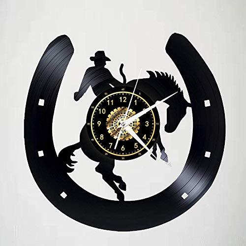 Reloj de Pared con Registro, Retro Vaquero A Caballo, Reloj de Vinilo, Movimiento de Cuarzo Silencioso, Negro, Creativo, Decorativo, Montado en La Pared, Decoración de Arte Mecánico, 12 Pulgadas