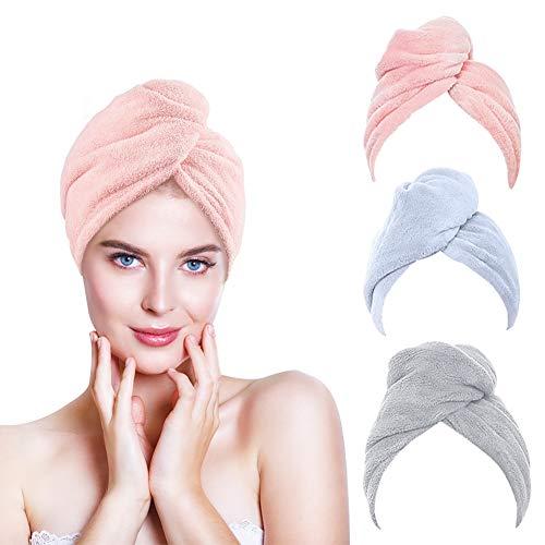 Microfiber Hair Towel Wrap, 3PCS Hair Towel Wrap Quick Dry Hair Drying Towel, Rapid Drying Hair Towel (3 Colors)
