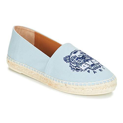Kenzo Classic Espadrilles Stoffpantoletten/Espandrillos Damen Blau/Himmelsfarbe - 35 - Leinen-Pantoletten mit gefloch