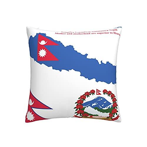 Kissenbezug mit Nepal-Flagge, quadratisch, dekorativer Kissenbezug für Sofa, Couch, Zuhause, Schlafzimmer, für drinnen & draußen, niedlicher Kissenbezug 45,7 x 45,7 cm