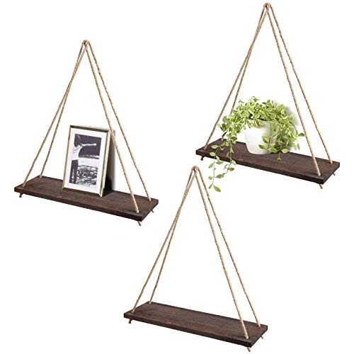 GAKIN Juego de estantes flotantes de madera para colgar en la pared, estilo bohemio