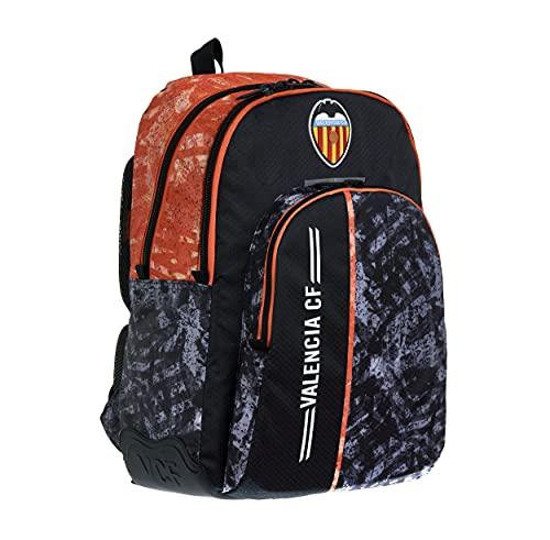 Valencia CF Mochila Escolar Juvenil Tres Compartimentos Doble Cremallera – Medidas 32x44x14 cm Color Negro