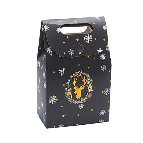 Bouncevi 10er Pack Black Night Sky Weihnachten Exquisite Einkaufstasche, Candy Bag Deer Paper Gift Bag, Weihnachtsgeschenk-Box, Schokolade Weihnachtsgeschenk-Tasche, Holiday Gift Bag