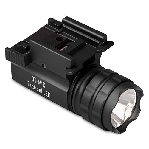DefendTek Gun Flashlight Compact Non Rechargeable Tactical LED Rail Mounted with Quick Release 300 Lumens DT-M1C Model Fits Glock Taurus Ruger Springfield H&K S&W (Black)