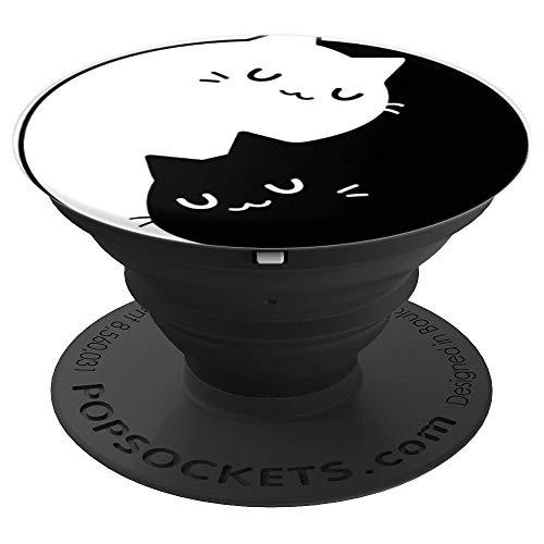 Cute Sleeping Black and White Yin Yang Cats gift - PopSockets Ausziehbarer Sockel und Griff für Smartphones und Tablets