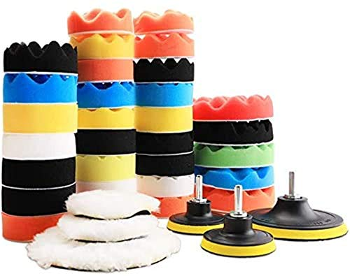 Benavvy 39pcs Polishing Pad Kit, 2 in 1 Car Foam Drill,7-5' & 31-3' Buffing Pads car Care Polisher Waxing Polishing
