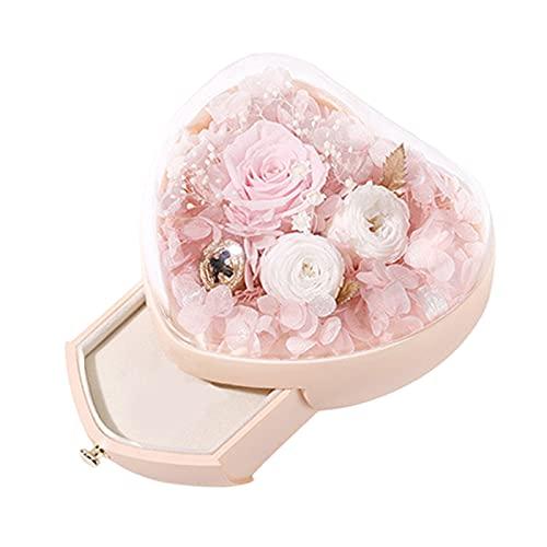 NC Caja de flores preservada Caja organizadora de joyas nunca marchita para el día de San Valentín Aniversario de bodas Regalos románticos para ella con - Rosa