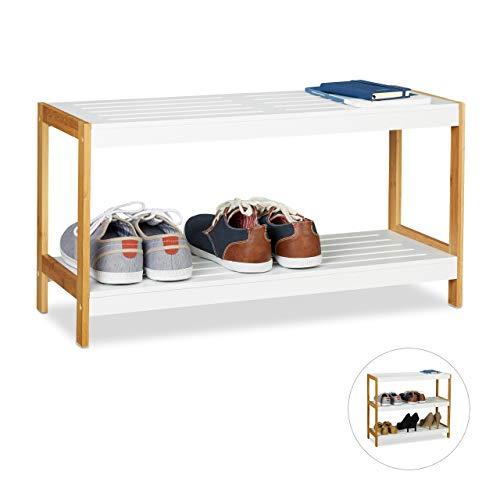 Relaxdays, weiß/Natur Schuhregal, 2 Ablagen, robuste Schuhaufbewahrung, Bambus & MDF, Schuhablage HBT 36,5 x 70 x 26cm