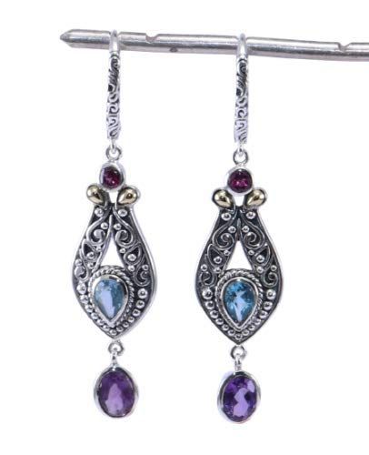 925 Sterling Silver African Amethyst, Swiss Blue Topaz Gemstone Hoop Fine Earrings Jewelry Crystalcraftindia
