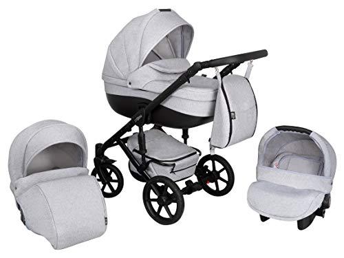 Kinderwagen Babywagen Kombikinderwagen Zeo Storm 3in1 Komplettset mit Zubehör 0-3 Jahre 0-15 kg Insektenschutz Einkaufstasche Regenschutz Buggy Autositz (ST2)