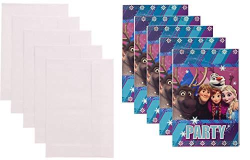 TrendyMaker Disney Frozen - Set di 10 biglietti d'invito, 5 biglietti e 5 buste, adatti per feste, compleanni dei bambini, set da 4