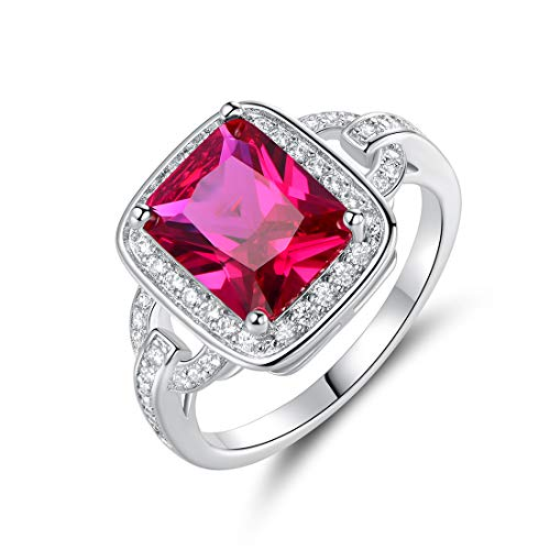 Barzel 18k White Gold/Rose Gold Plated Created Ruby Cubic Zirconia Statement Ring (Ruby, 7)
