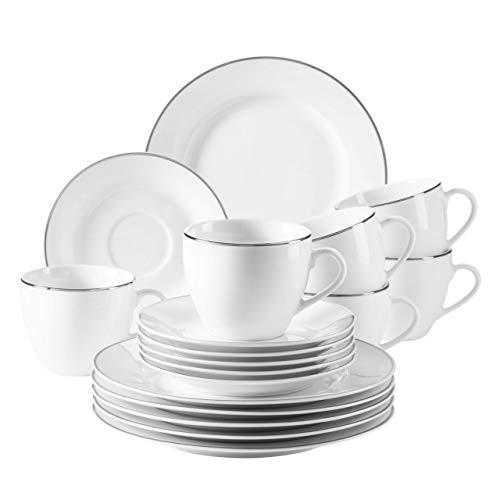 MÄSER 931530 Professional Dining, Kaffeeservice für 6 Personen in Weiß mit Silberrand, 18-teiliges Kaffeegeschirr Set, Porzellan