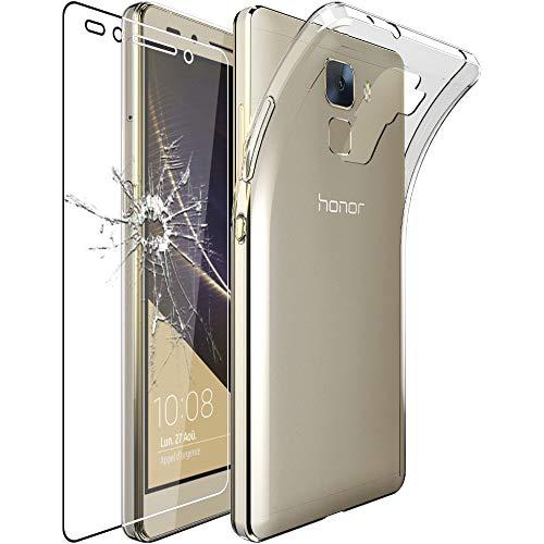 Huawei Honor 7 Hülle Handyhülle [Ultra Dünn], Premium Durchsichtige Klar TPU Schutzhülle, Soft Flex Silikon, Transparent + Panzerglas Schutzfolie [Honor 7: 143.2 x 71.9 x 8.5mm, 5.2'']