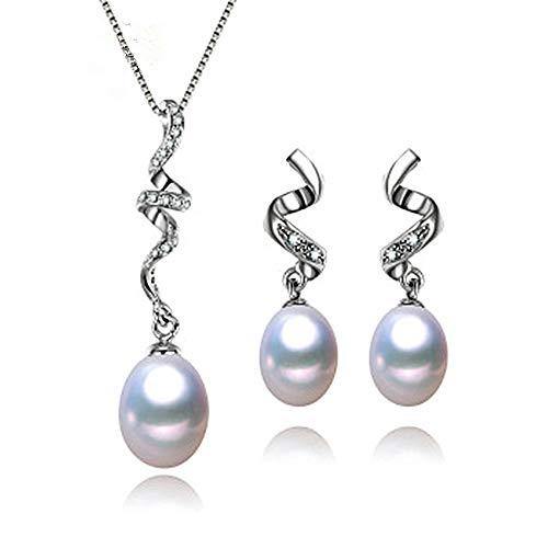 Set de Joyas con Perlas y Circonita Pendientes y Colgante con Perlas Collar Spirala y Pendientes de Plata de Ley,Perlas Cultivadas Naturales para Mujer 8-9mm y Piedras circonita