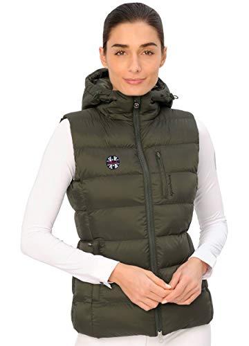 SPOOKS Damen Gesteppte Jacke Weste leichte Damenweste Steppweste - Maxi Vest Olive l
