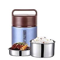 Cffdoifhe お弁当ばこ, 子供の大人のための食品フラスコステンレス鋼の熱スープフラスコ、昼食のためのBPAフリーの断熱容器、ポータブル漏れ防止熱真空ボトル、弁当スタイルのランチソリューションオファー耐久性 (Color : Blue, Size : 1.8L)