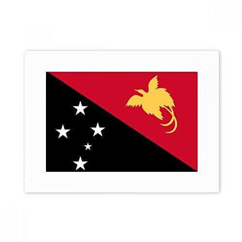 DIYthinker Papua-Neuguinea National Flagge Ozeanien Land Desktop-Foto-Rahmen-Weiß-Bild-Kunst-Malerei Passt 10.2 x 15.2cm (4 x 6 Zoll) Bild Mehrfarbig