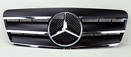 98-02 W208 Mercedes CLK-Class Black 3 Fin Sport Front Grille With Center Star For CLK320 CLK500 CLK55 AMG