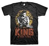 ELVIS PRESLEY Oficialmente Licenciado The King of Rock 'n Roll Camiseta para Hombre (Negro), XX-Large
