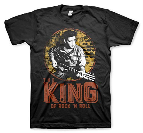 ELVIS PRESLEY Oficialmente Licenciado The King of Rock 'n Roll Camiseta para Hombre (Negro), XX-Large