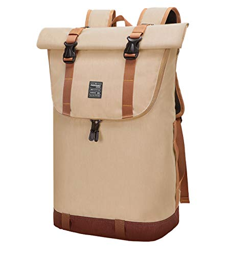 EverVanz Laptop Backpack Roll Top Water Resistant Travel Rucksack Casual Daypack