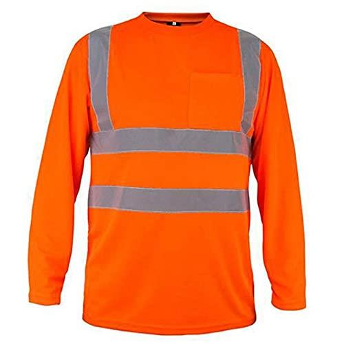 Chaleco de seguridad reflectante de alta visibilid Manga larga de seguridad, camiseta amarilla Tops de trabajo reflectante chalecos de seguridad reflectantes para hombre muj