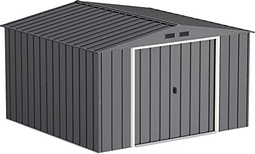 Duramax Antracita Caseta de jardín de Metal Eco JAVEA 10X10 de Color Gris Unas Medidas 3.023 X 3.221 X 1.961 mm, 302x322x196 cm