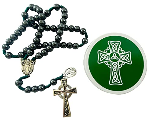 Saint Patrick Irish Rosary with Celtic Crucifix and Protective Case
