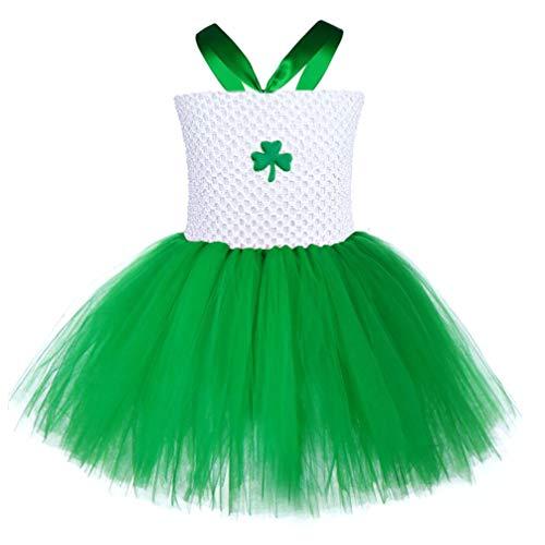 Amosfun Vestido de día de San Patricio Trajes de Mameluco bebé niña Traje de Fiesta Irlandesa tréboles Falda Mono Falda tutú Falda de Rendimiento para niños niño (s)