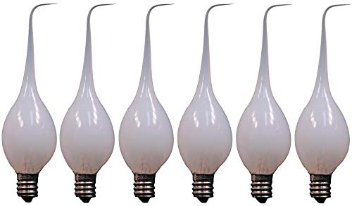 Creative Hobbies 6-Pack, Silicone Dipped Candle Light Bulbs, 7 Watt, Longer Life Country Style, Electric Candle Lamp Replacement Light Bulbs Individually Boxed